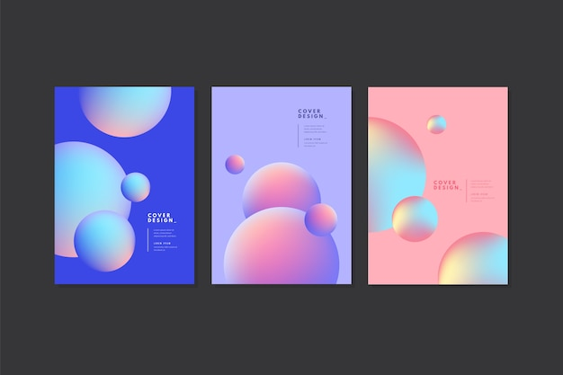 Capas de bolhas azuis e rosa pastel Vetor grátis