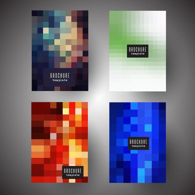 Capas de brochura com desenhos de pixel abstratos Vetor grátis