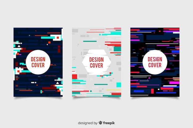 Capas de design com efeito de falha colorido Vetor grátis