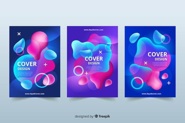Capas de design com efeito líquido colorido Vetor grátis