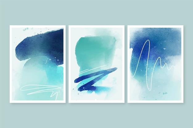Capas de formas abstratas em aquarela Vetor Premium