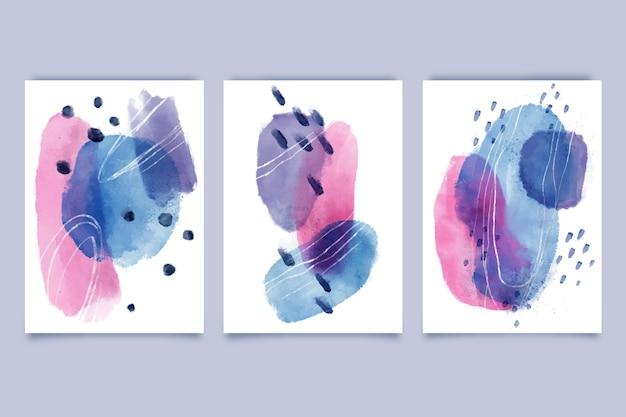 Capas de formas abstratas em aquarela Vetor grátis