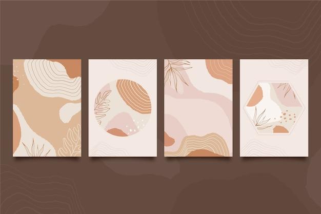 Capas de formas abstratas mão desenhada Vetor grátis