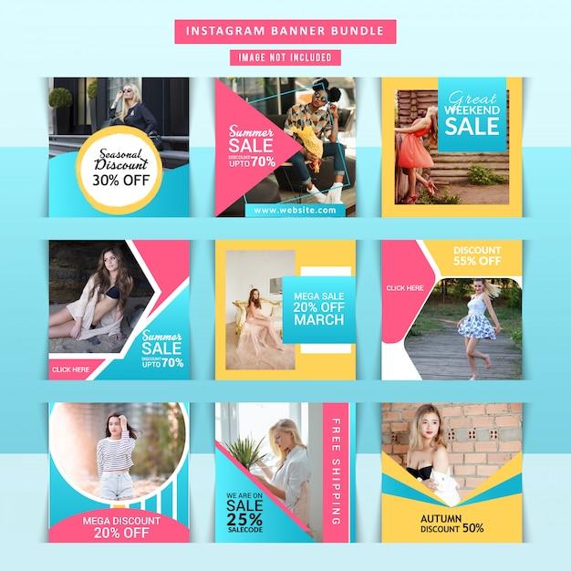 Capas de instagram de negócios de marketing Vetor Premium