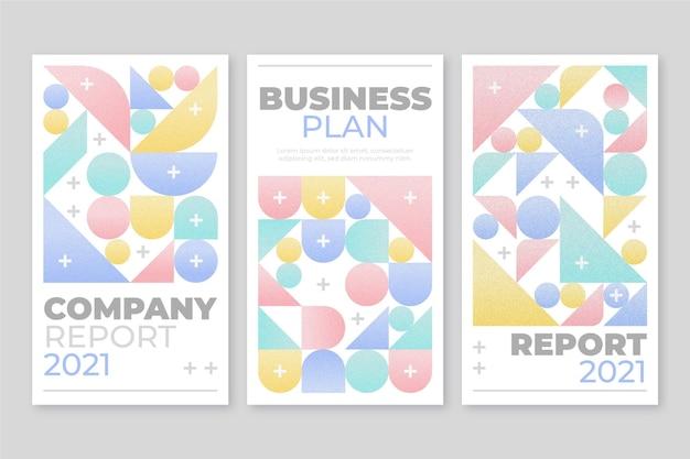 Capas de negócios geométricas em tons pastéis claros Vetor grátis