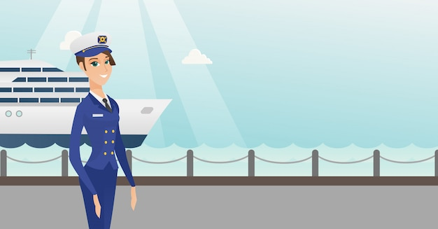 Capitão de navio caucasiano em uniforme no porto. Vetor Premium