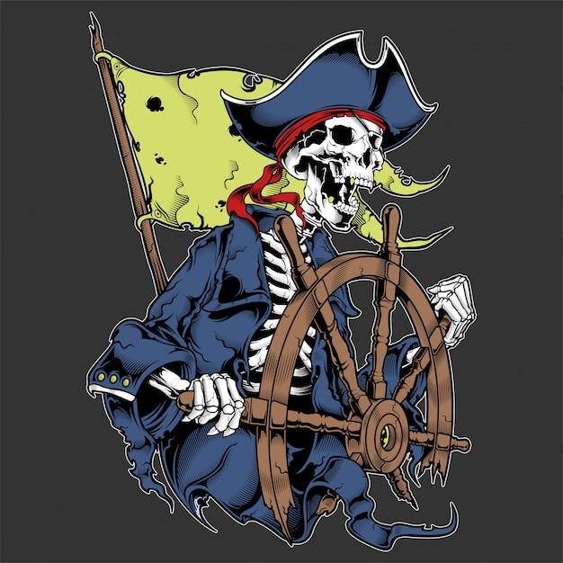 Capitão do crânio do pirata na roda isolada. Vetor Premium