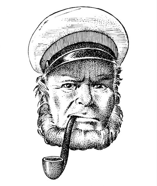 Capitão do mar, marinheiro velho marinho com cachimbo ou paletó, marinheiro com barba ou marinheiro de homens. viajar de navio ou barco. mão gravada desenhada no desenho antigo boho. Vetor Premium