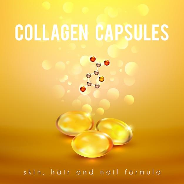 Cápsulas de fórmula de colágeno fundo dourado Vetor grátis