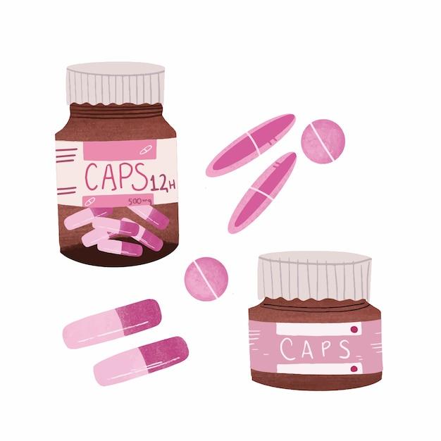 Cápsulas de medicamento - mão desenhada Vetor Premium
