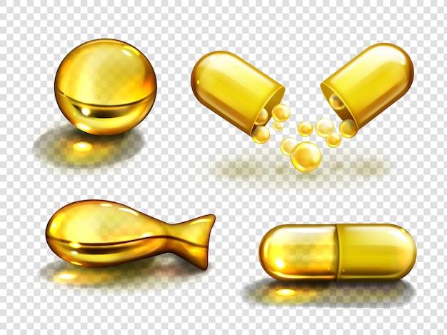 Cápsulas de óleo de ouro, suplementos vitamínicos, colágeno Vetor grátis