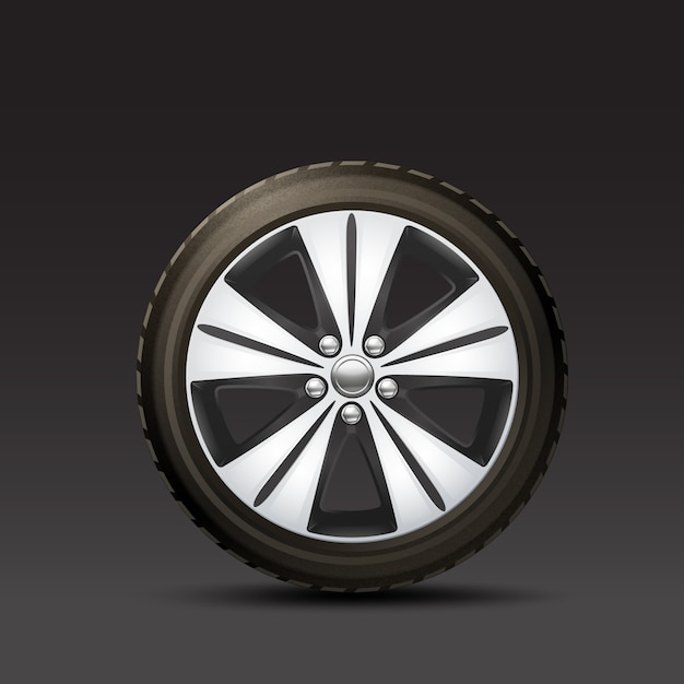 Car wheel black background Vetor grátis