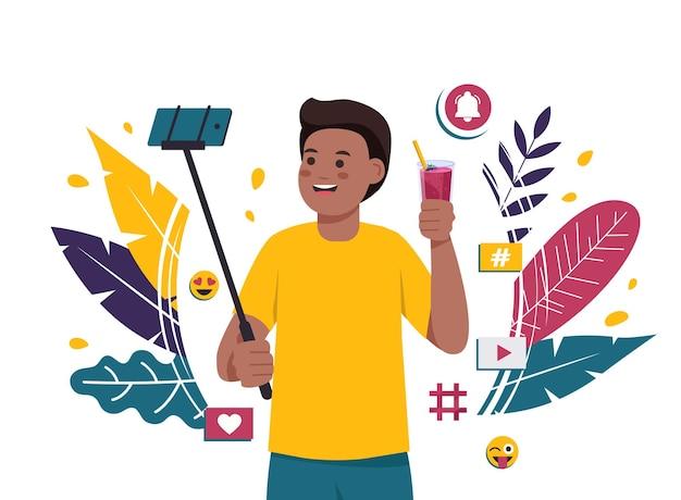 Cara afro-americano tira uma selfie com um coquetel. Vetor Premium
