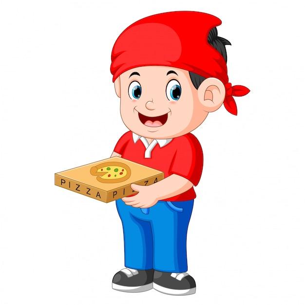 Cara alegre do serviço de entrega em t-shirt vermelha e segurando caixas de pizza Vetor Premium