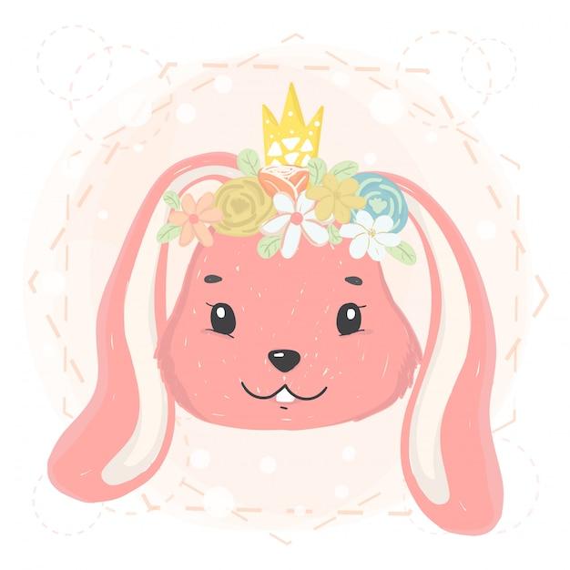 Cara de coelho bonito com coroa de flores e coroa na primavera Vetor Premium