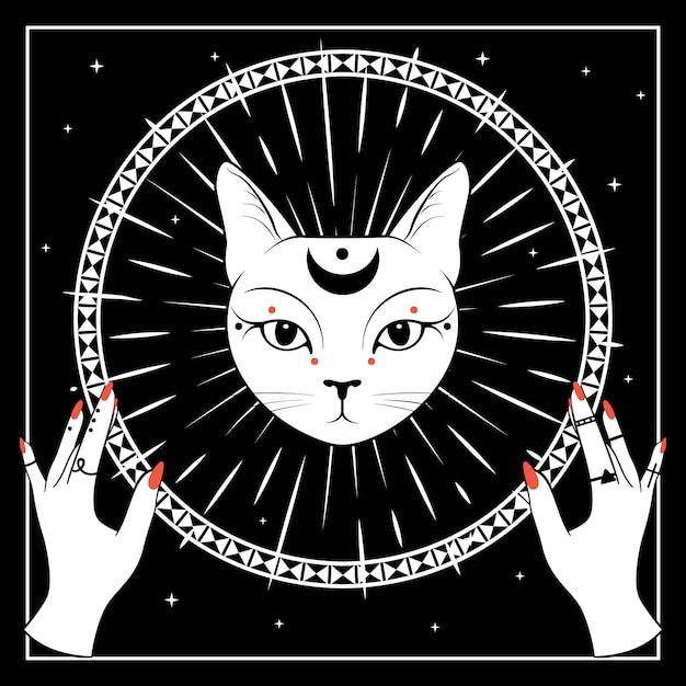 Cara de gato branco com a lua no céu noturno Vetor Premium