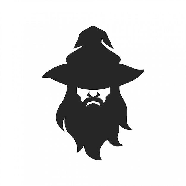 Cara de homem mágico assistente com barba de chapéu Vetor Premium