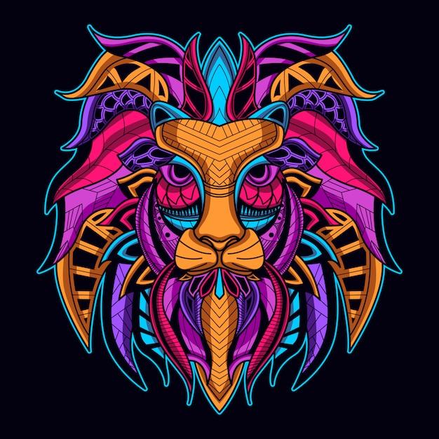Cara de leão na cor neon Vetor Premium