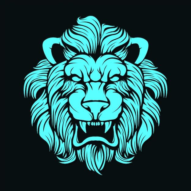 Cara de leão Vetor Premium