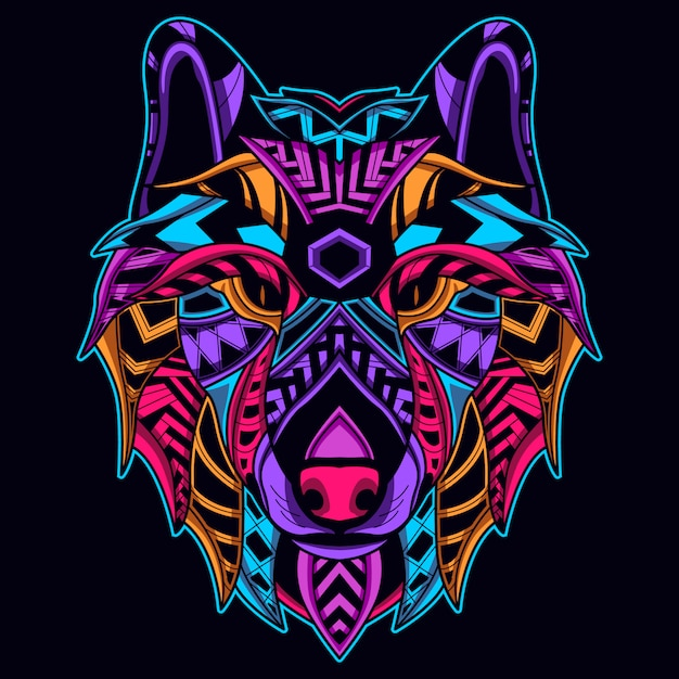 Cara de lobo na cor neon Vetor Premium