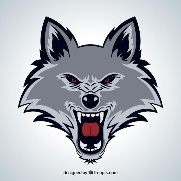 Cara de lobo selvagem Vetor grátis