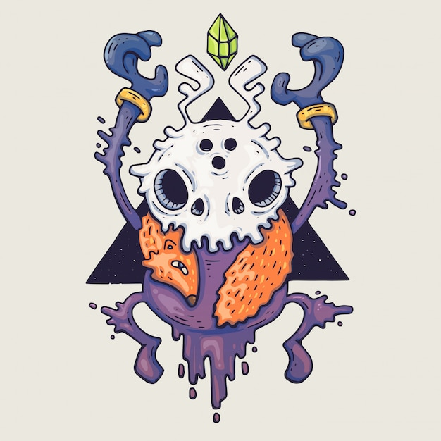 Cara de monstro dos desenhos animados. monstro de vetor azul de halloween com um olho Vetor Premium