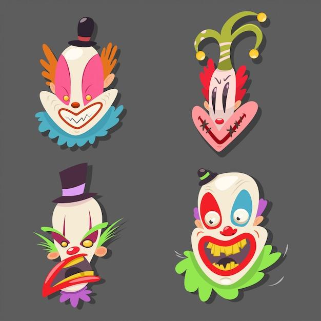 Cara de palhaço assustador definido. vector cartoon ilustração de artistas de circo com emoções mal isoladas Vetor Premium