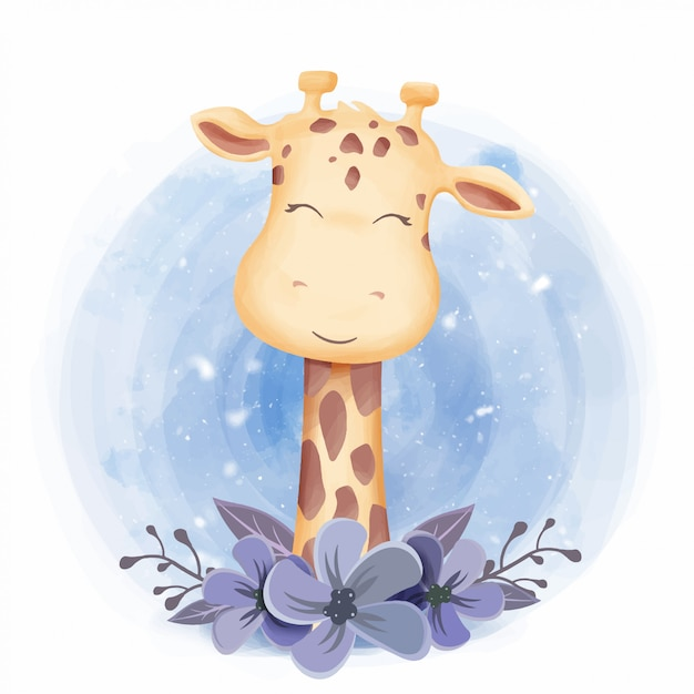 Cara de sorriso girafa animal bonito Vetor Premium
