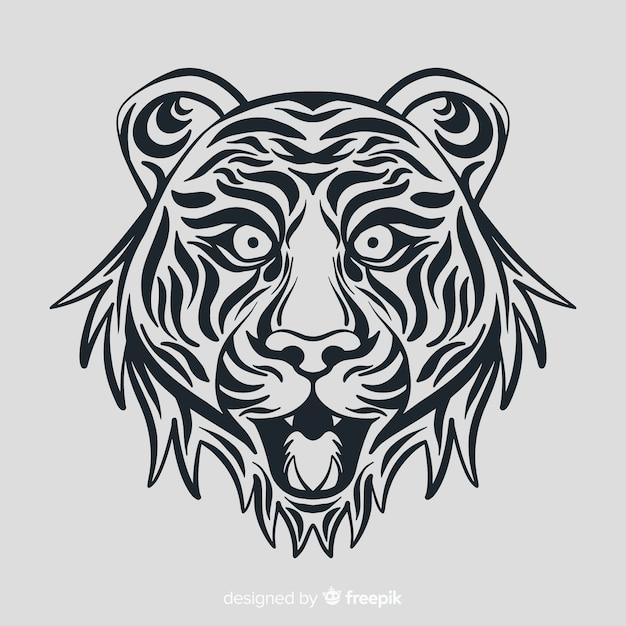 Cara de tigre com estilo tribal Vetor grátis