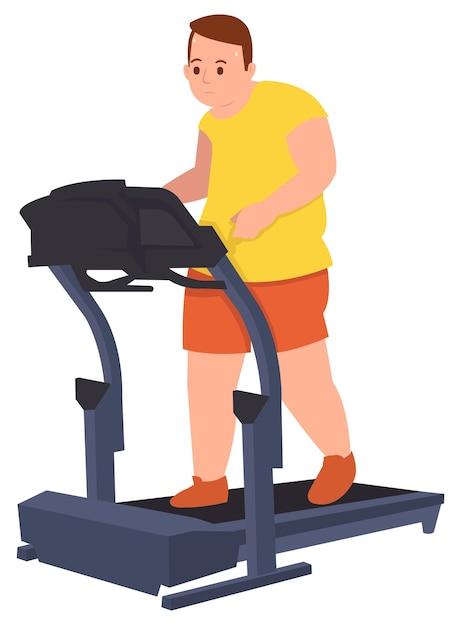 Cara gordo fazendo treino correndo para perder seu peso em um ginásio Vetor Premium
