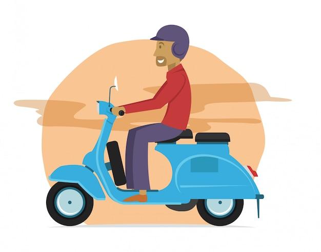 Cara jovem, montando, clássico, scooter, motocicleta Vetor Premium