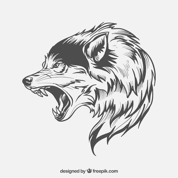 Cara lateral do lobo Vetor grátis