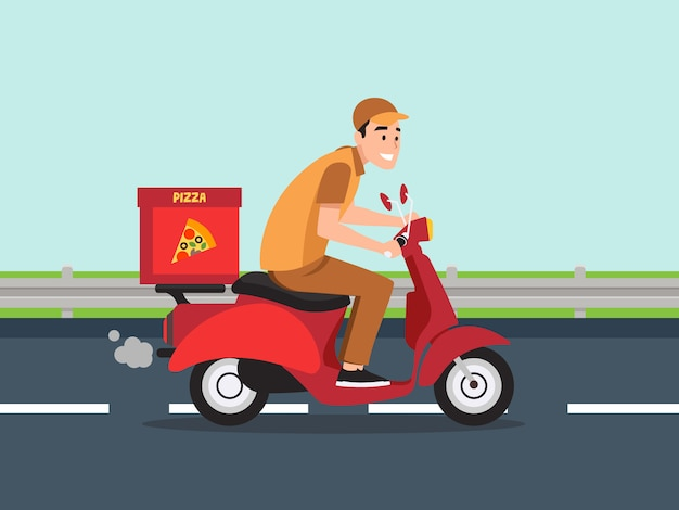 Cara no ciclomotor está carregando pizza. Vetor Premium