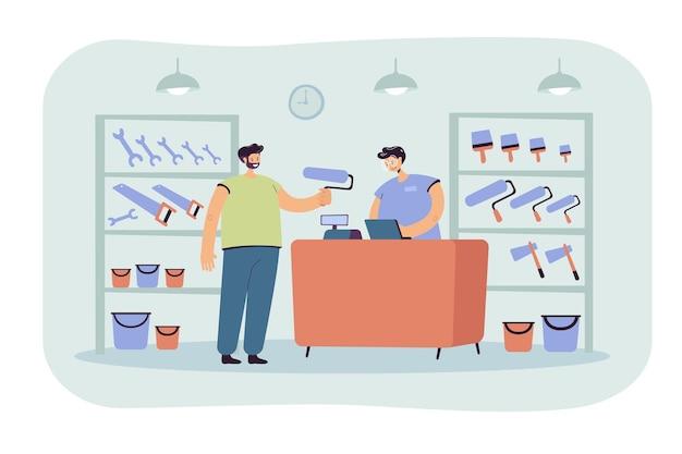 Cara sorridente, comprando rolo de pintura em ilustração plana de loja de ferramentas. vendedor de desenhos animados atendendo e aconselhando o cliente Vetor grátis