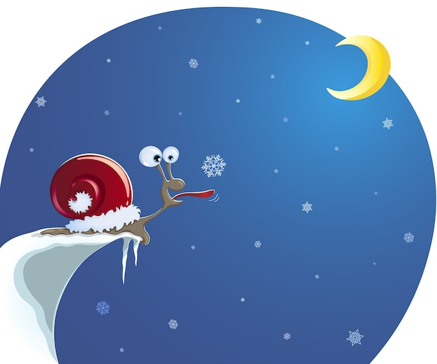 Caracol com chapéu de papai noel, na beira de um penhasco coberto de neve, pega um floco de neve com a língua Vetor Premium