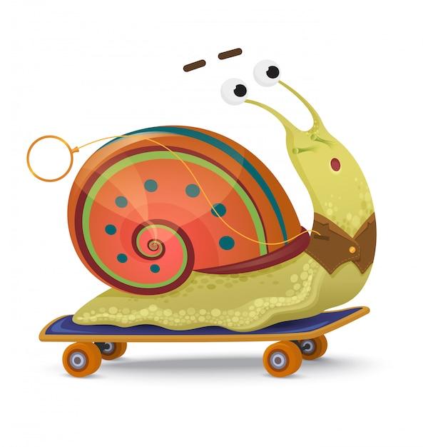 Caracol rápido. caracol bonito dos desenhos animados em um skate isolado Vetor Premium