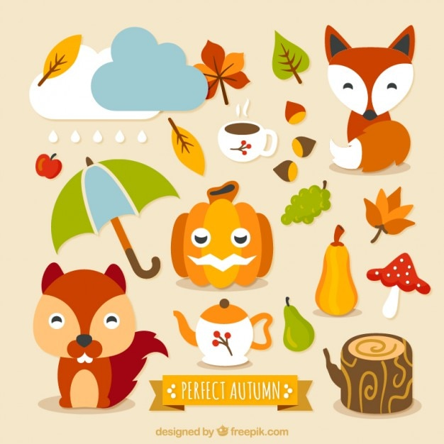 Caracteres outono encantadores e elementos Vetor grátis