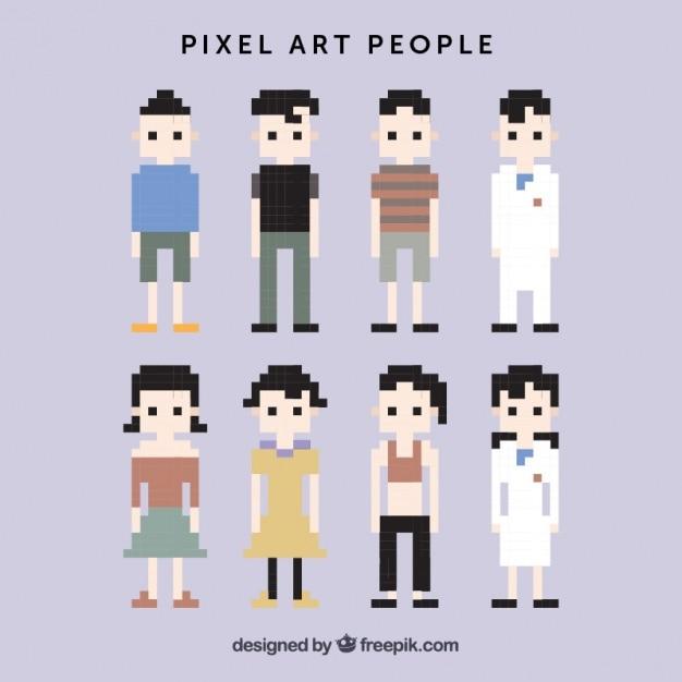 Caracteres pixelizada Vetor grátis