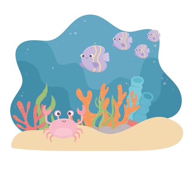 Caranguejo peixes vida areia recifes de corais dos desenhos animados no fundo do mar Vetor Premium