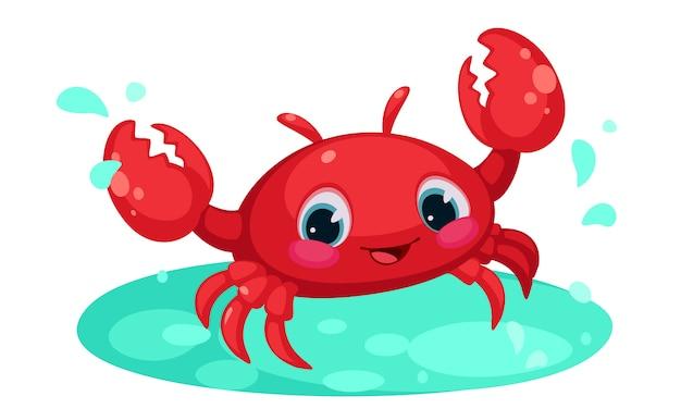 Caranguejo vermelho bonito dos desenhos animados na lagoa de água Vetor Premium
