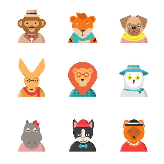 Caras engraçadas de animais. avatares de hipster de macaco gato canguru hipopótamo roupas bonitos personagens do zoológico em estilo simples Vetor Premium