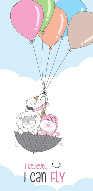 Caráter bonito animal dos desenhos animados voando com balão Vetor Premium