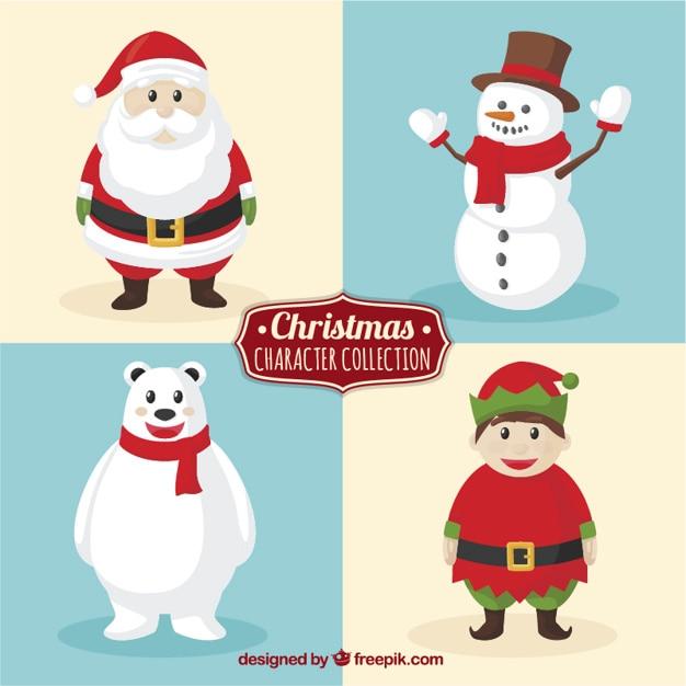 Caráter coleção bonito para o natal Vetor grátis