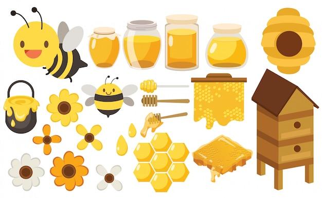Caráter conjunto grande abelha Vetor Premium