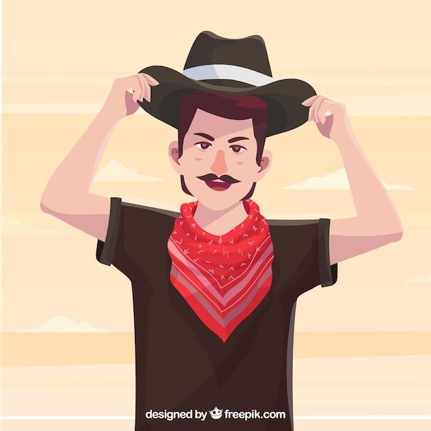 Caráter cowboy com chapéu e cachecol Vetor grátis