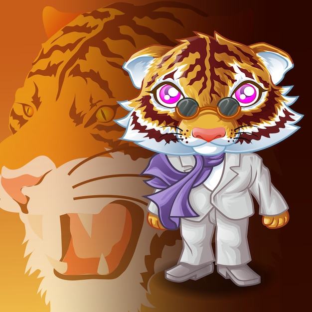 Caráter da máfia do tigre e fundo do tigre. Vetor Premium