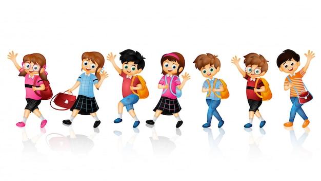 Caráter de crianças de escola. Vetor Premium