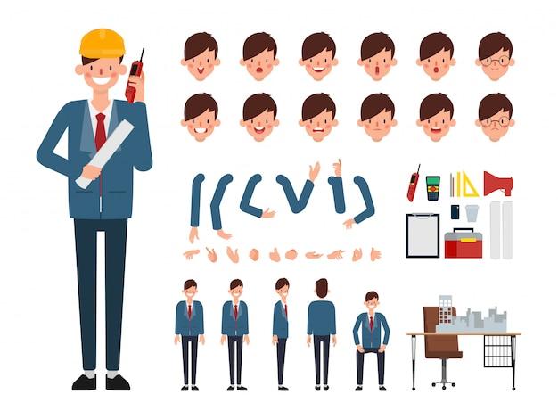 Caráter de engenheiro pronto para animação. Vetor Premium