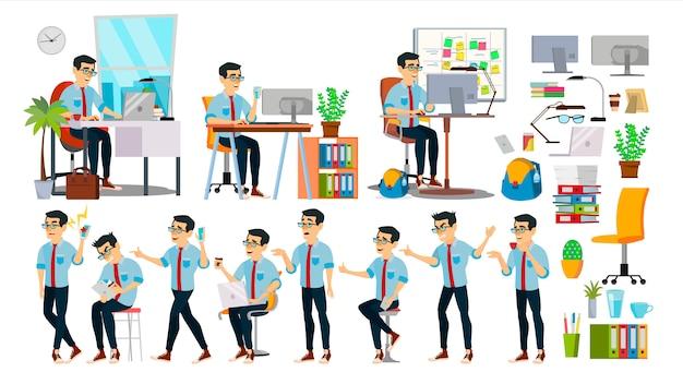 Caráter de homem de negócios Vetor Premium