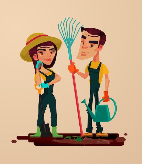 Caráter de homem e mulher de dois jardineiros. ilustração em vetor plana dos desenhos animados Vetor Premium